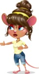 Cute Female Mouse Cartoon Vector Character - Showing with right hand
