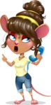 Cute Female Mouse Cartoon Vector Character - Talking on phone