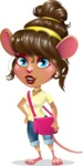 Cute Female Mouse Cartoon Vector Character - Traveling