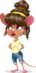 Cute Female Mouse Cartoon Vector Character - Waiting with hands behind back