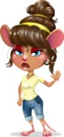 Cute Female Mouse Cartoon Vector Character - Waving for Goodbye with a hand
