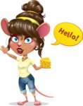 Cute Female Mouse Cartoon Vector Character - Waving for Hello with a hand
