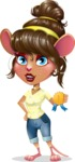 Cute Female Mouse Cartoon Vector Character - Winning prize
