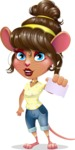 Cute Female Mouse Cartoon Vector Character - with a Blank Business card