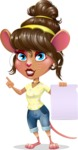 Cute Female Mouse Cartoon Vector Character - with a Blank paper