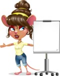 Cute Female Mouse Cartoon Vector Character - with a Blank Presentation board