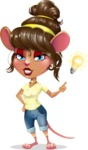 Cute Female Mouse Cartoon Vector Character - with a Light bulb