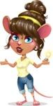 Cute Female Mouse Cartoon Vector Character - with an Idea