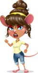 Cute Female Mouse Cartoon Vector Character - with Angry face