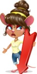 Cute Female Mouse Cartoon Vector Character - with Arrow going Down
