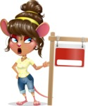 Cute Female Mouse Cartoon Vector Character - with Blank Real estate sign