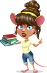 Cute Female Mouse Cartoon Vector Character - with Books
