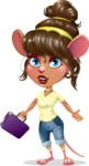 Cute Female Mouse Cartoon Vector Character - with Briefcase