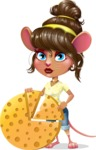 Cute Female Mouse Cartoon Vector Character - with Business graph