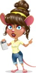 Cute Female Mouse Cartoon Vector Character - with Calculator