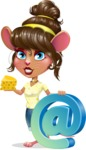 Cute Female Mouse Cartoon Vector Character - with Email sign