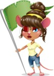Cute Female Mouse Cartoon Vector Character - with Flag