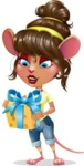Cute Female Mouse Cartoon Vector Character - with Gift box