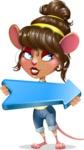 Cute Female Mouse Cartoon Vector Character - with Positive arrow