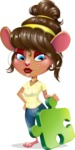 Cute Female Mouse Cartoon Vector Character - with Puzzle