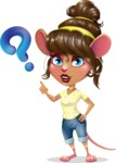 Cute Female Mouse Cartoon Vector Character - with Question mark