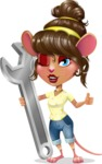 Cute Female Mouse Cartoon Vector Character - with Repairing tool wrench