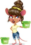 Cute Female Mouse Cartoon Vector Character - with Sale boxes