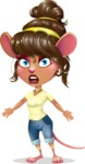 Cute Female Mouse Cartoon Vector Character - with Stunned face