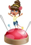 Cute Female Mouse Cartoon Vector Character - with Success on Top