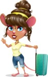 Cute Female Mouse Cartoon Vector Character - with Suitcase