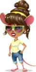 Cute Female Mouse Cartoon Vector Character - with Sunglasses