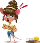 Cute Female Mouse Cartoon Vector Character - with Target