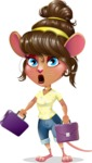 Cute Female Mouse Cartoon Vector Character - with Two briefcases