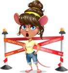 Cute Female Mouse Cartoon Vector Character - with Under Construction sign