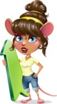 Cute Female Mouse Cartoon Vector Character - with Up arrow