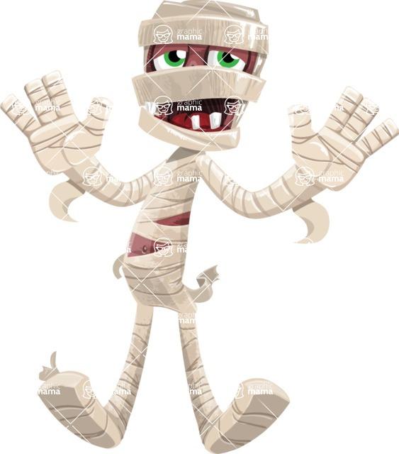 Funny Mummy Vector Cartoon Character - Being Afraid