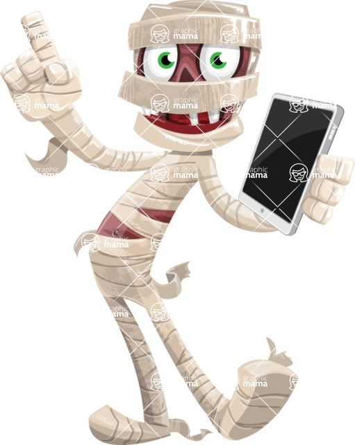 Funny Mummy Vector Cartoon Character - Being Modern with a Tablet