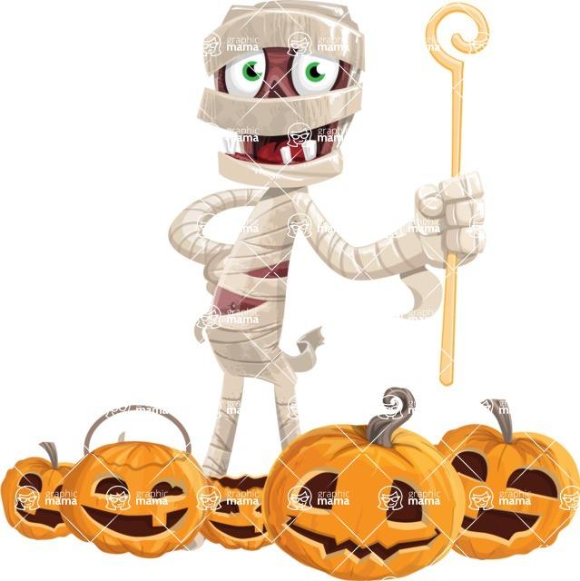 Funny Mummy Vector Cartoon Character - Celebrating Halloween With Pumpkins