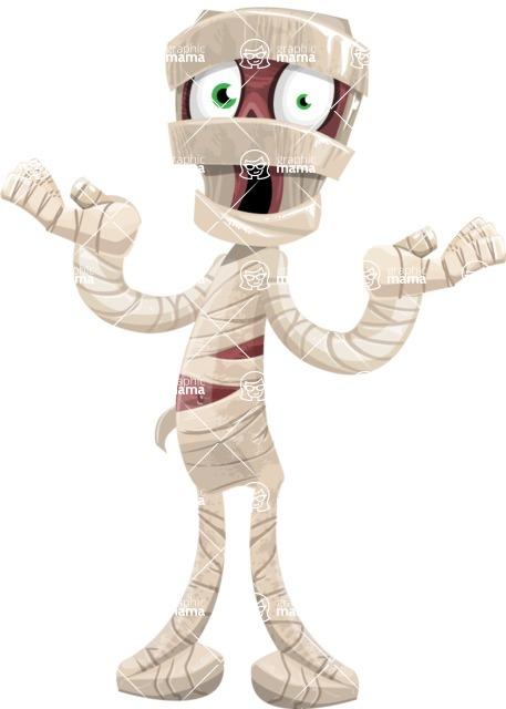 Funny Mummy Vector Cartoon Character - Feeling Shocked