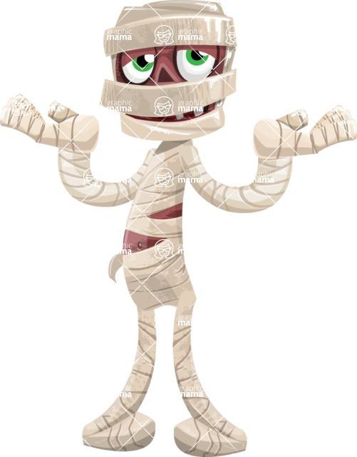Funny Mummy Vector Cartoon Character - Feeling Sorry