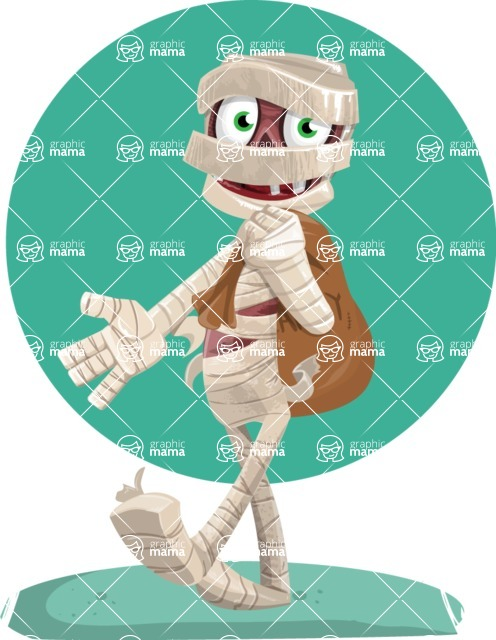 Funny Mummy Vector Cartoon Character - Happy With Flat Halloween Background