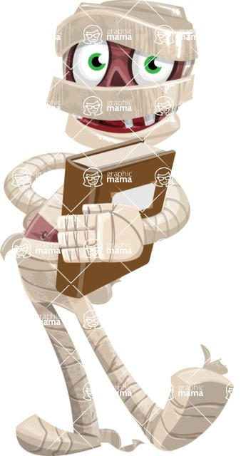 Funny Mummy Vector Cartoon Character - Holding a Book