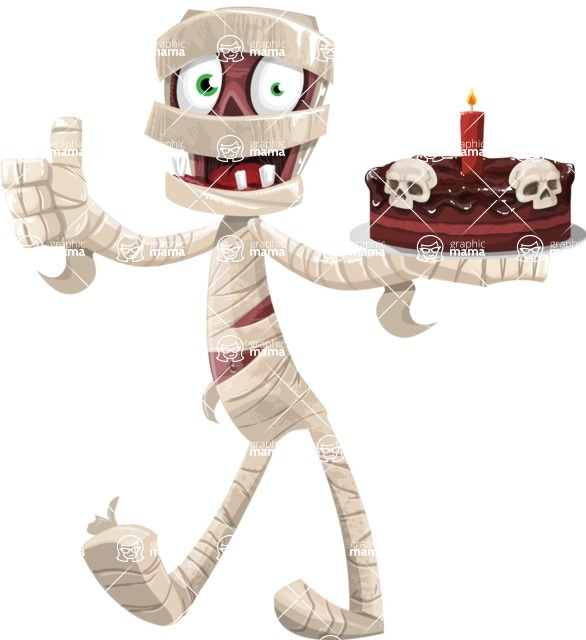 Funny Mummy Vector Cartoon Character - Holding a Halloween Cake