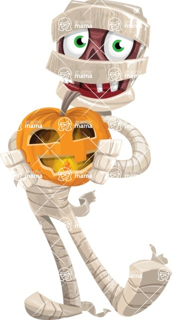 Funny Mummy Vector Cartoon Character - Holding a Pumpkin Lantern