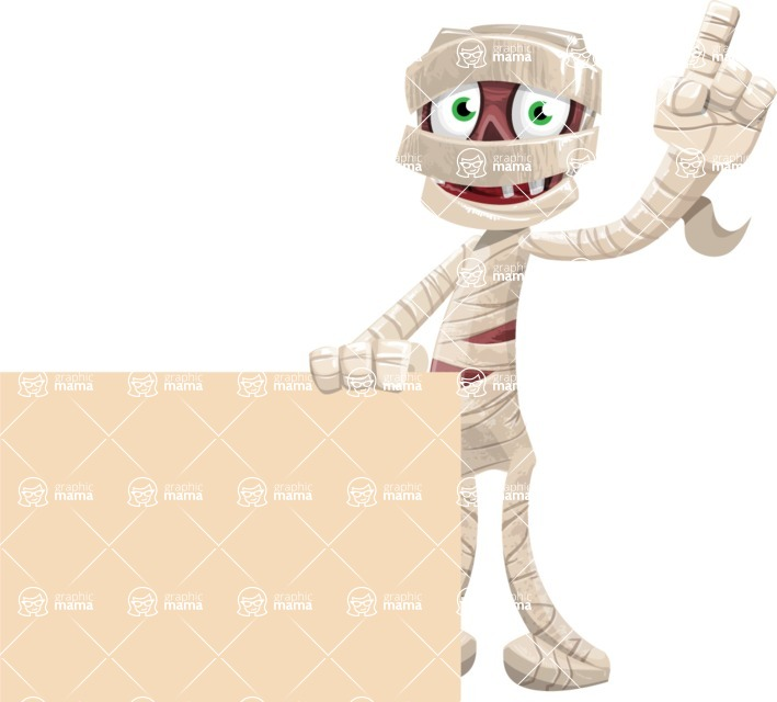 Funny Mummy Vector Cartoon Character - Holding Blank Presentation Sign and Making a Point