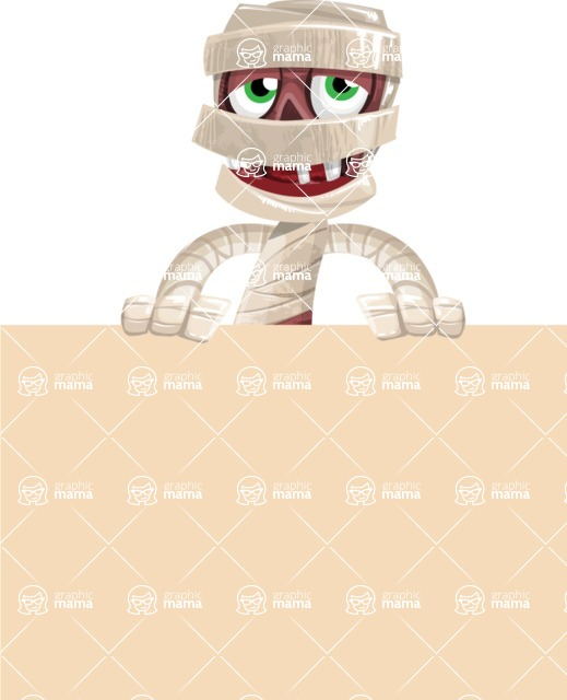 Funny Mummy Vector Cartoon Character - Holding Blank Sign and Smiling