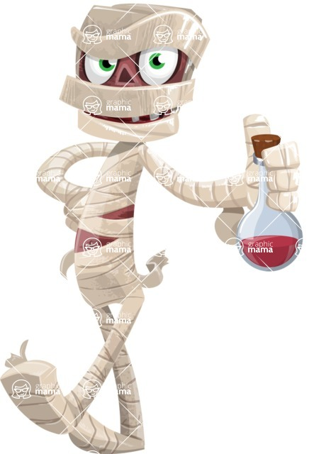 Funny Mummy Vector Cartoon Character - Holding Potion