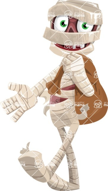 Funny Mummy Vector Cartoon Character - Holding Sack with Candies