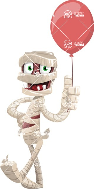 Funny Mummy Vector Cartoon Character - On a Party with a Balloon
