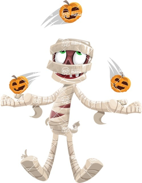 Funny Mummy Vector Cartoon Character - Playing on Halloween